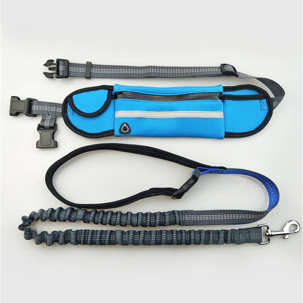 Hand Free Elastic Waist Dog Leash Running Jogging Dog Sport Product Adjustable Nylon Reflective Dog Leash With Waist Bags