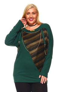 Women's Plus Size Knit Sweater Top With Striped