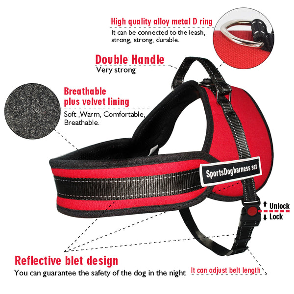 Nylon Work Dogs Harness Multipurpose No Pulling Dog Training Harness Service Pets Vest Heavy Duty For Husky Pitbull