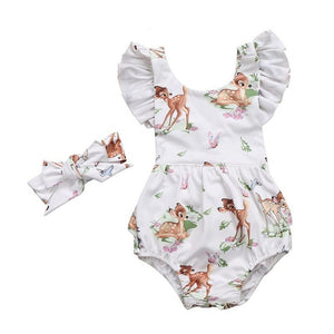 Newborn Toddler Baby Girls Deer Romper Outfit