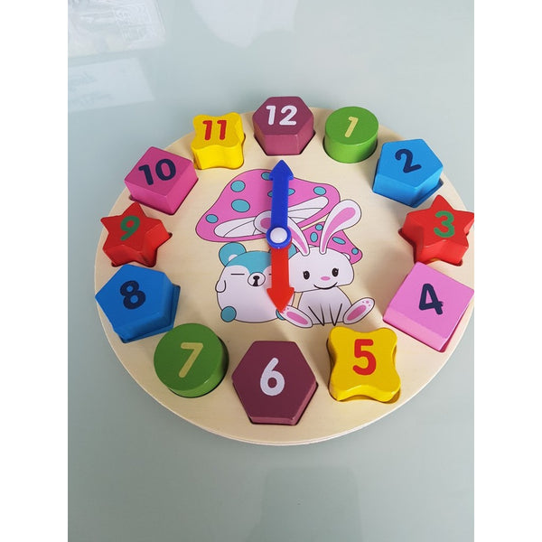Wooden Clock 12 Number Colorful Puzzle Educational