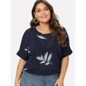 Leaves Print Roll Up Sleeve Tee