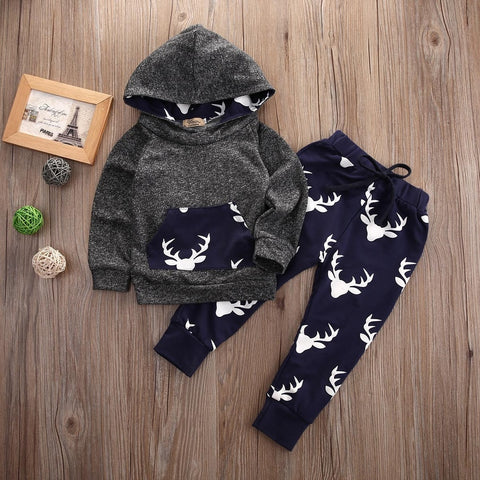 Newborn  Baby Boys Girls Hoodie Deer T-shirt Top+Pants 2pcs