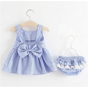 Summer Infant Toddler Baby Girls Bow Dress+Short Pants