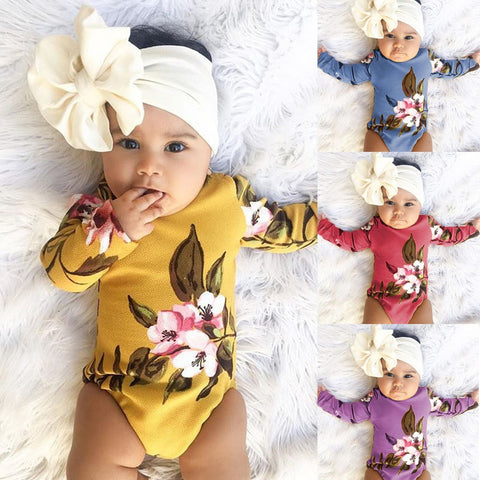 4 Colors New Born Baby Fashion Long Sleeve Printed Soft  Onezie