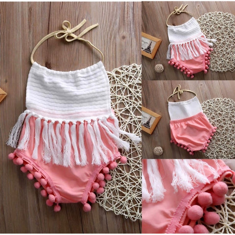 Infant Baby Girls Halter Backless Tassels Romper