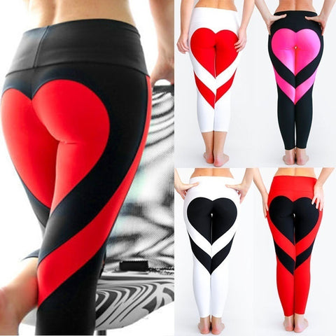 Sexy Women Special Design Love Heart Shape Yoga Leggings Heart Booty Pants Running Tights Crop Workout Pants