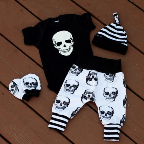 Summer Baby Boy Girl Skull Clothes Romper +Long Pants Hat 4pcs Outfits Set 0-18M