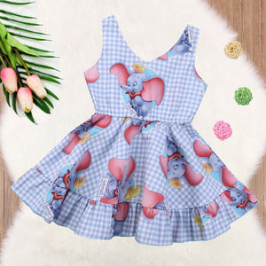 Toddler Girls Princess Animal Plaid Sleeveless  Sundress