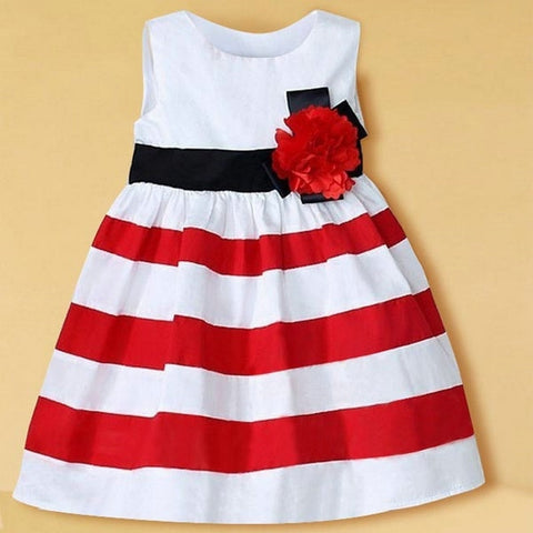 Toddler Girl Wide Stripe Sleeveless Dress Flower High Waist