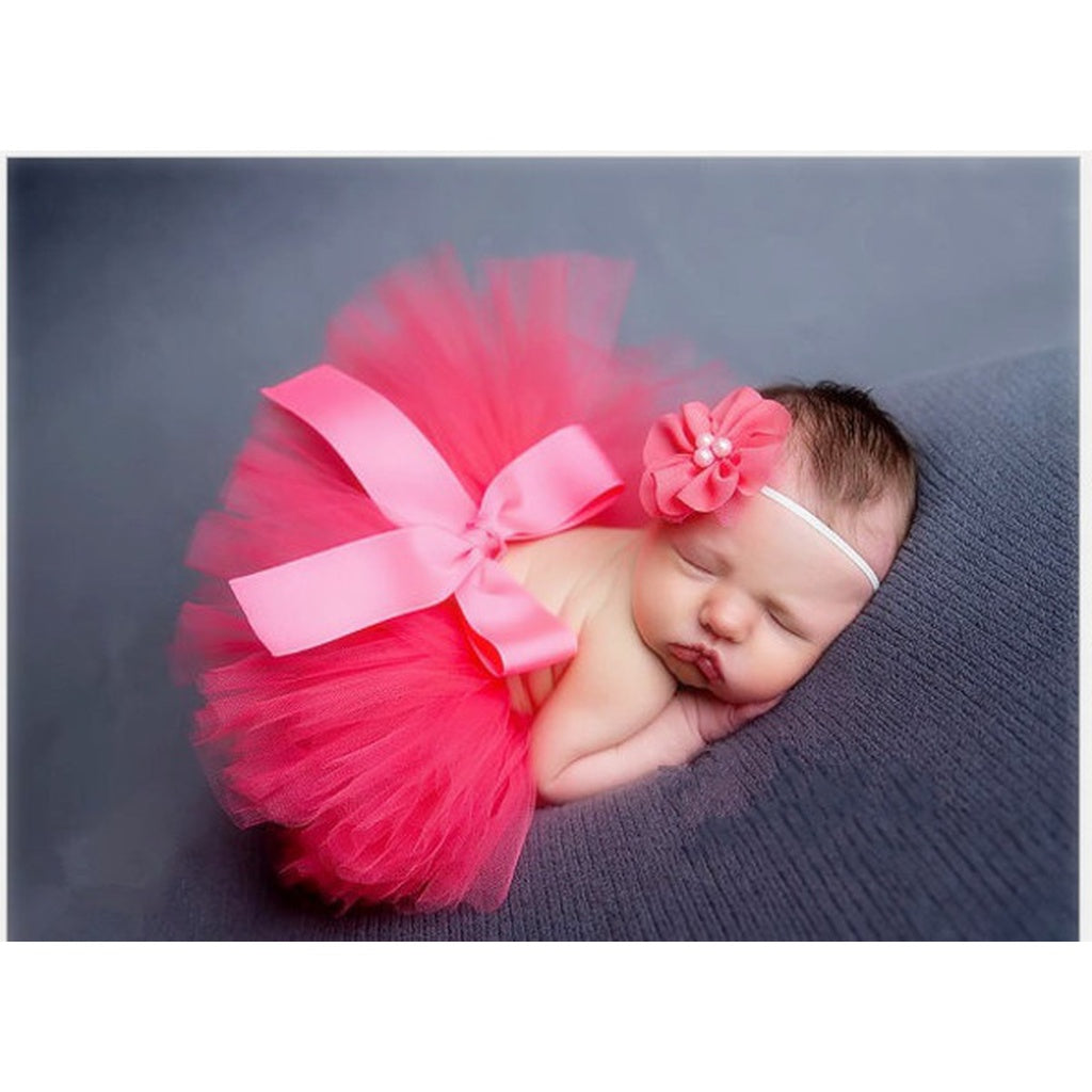 Baby Girls Flower Headband + Tutu Skirts  Photography Accessory Props