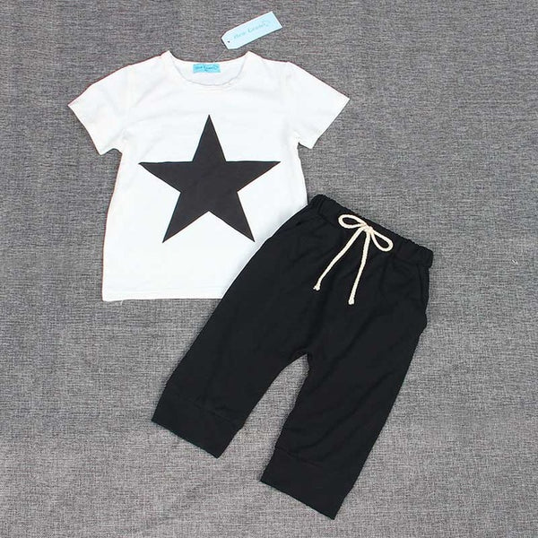 Cotton Tee Black Pants