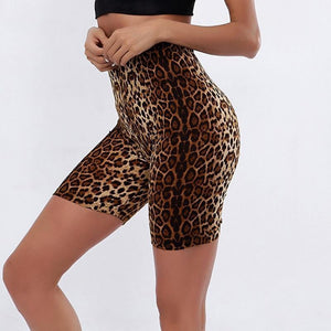 Brown Leopard Biker Shorts