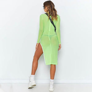 Neon Mesh Side Slit Dress