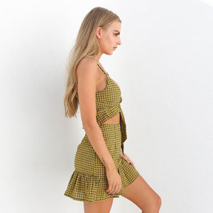 Tie Up Plaid Skirt Set