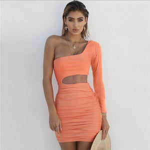 One Shoulder Backless Dress