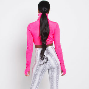 Neon Cropped Turtleneck
