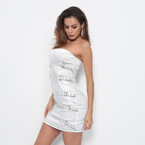 White Metal Buckle Dress