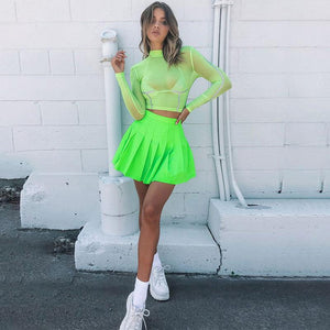 Mini Neon Pleated Skirt