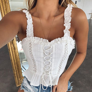 White Ruffle Lace Up Top