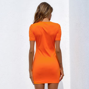 Neon Orange Buckle Dress