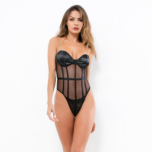 Black Panel Chain Bodysuit