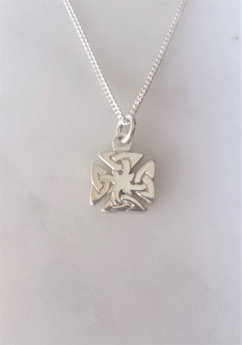 Celtic Iron Cross Necklace in sterling silver