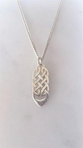 Celtic Knotwork Drop Pendant in sterling silver