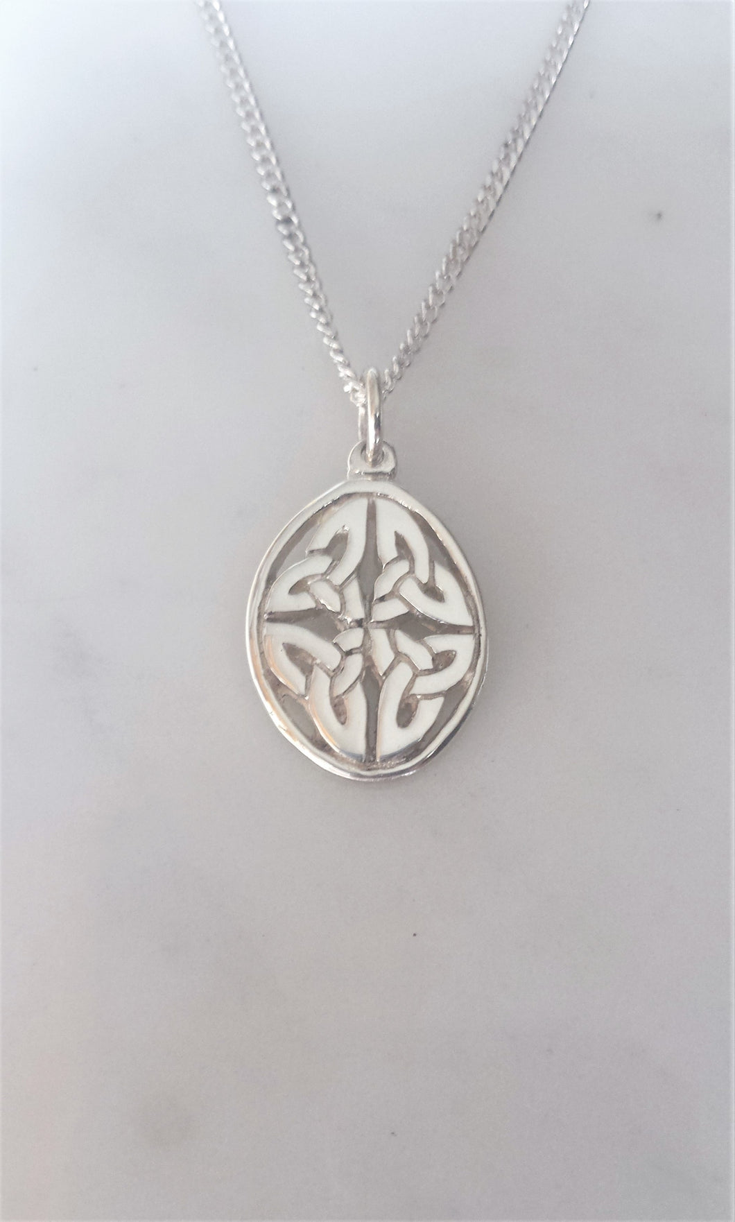 Celtic Oval Trinity Knot Necklace in sterling silver