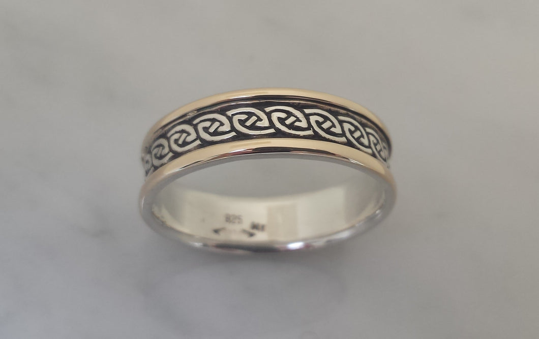 Na Mara in Sterling Silver with 14k raised borders