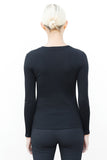 back view of woman wearing carol top