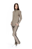 Model in taupe julie jacket and pants