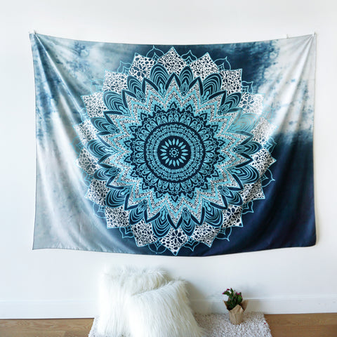 Ocean Blue Indian Hippie Bohemian Tapestry