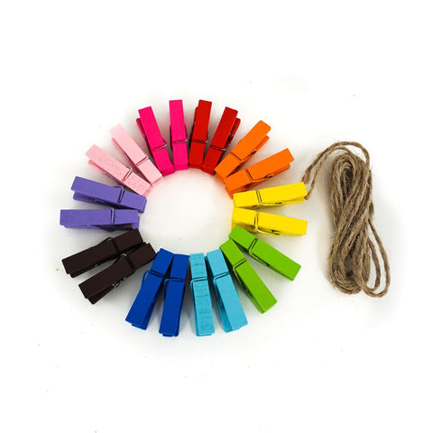 Colored Photo Display Mini Wood Clip