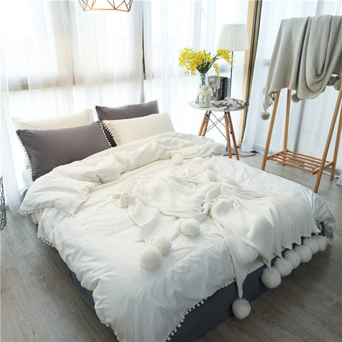 Cotton PomPom Duvet Cover Sets