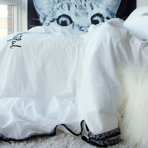 Washed Cotton Fringe Duvet Cover Set