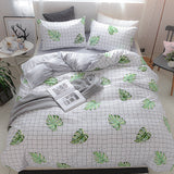 Super-Warm Velvet Green Leaf Duvet Cover Set