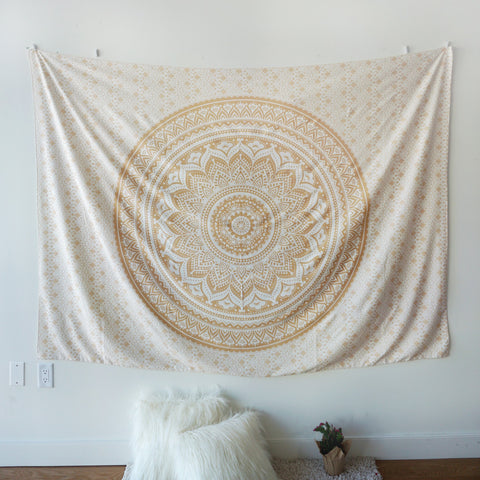 Gold Ombre Indian Hippie Bohemian Tapestry