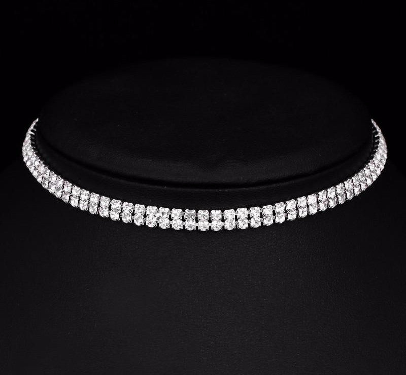 Kylie Jenner's Rhinestone Silver Crystal Collar Choker Necklace