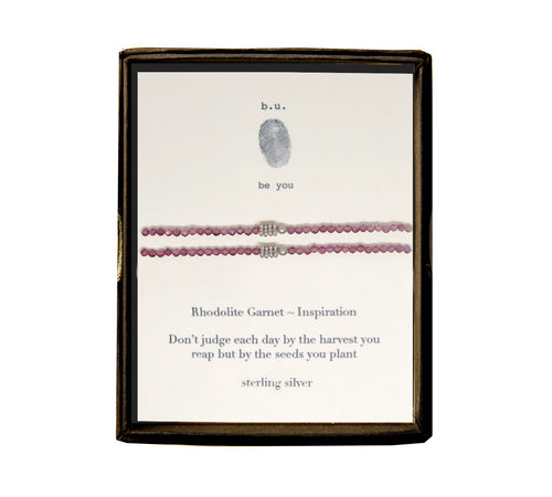 MB set. 2 elastic semi precious stone bracelet with sterling silver accents. Click photo for more stone options.