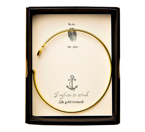 CBE99V Anchor Bangle Gold - b.u. jewelry