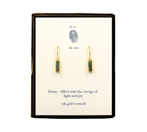 EDLGV Green Bar Druzy Earring Pair Gold