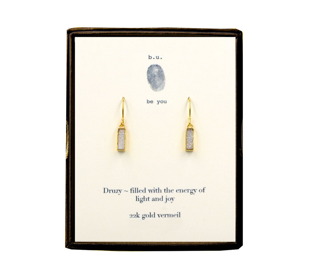 EDLWPV White Shimmer Bar Druzy Earring Pair Gold