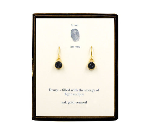 EDRBKV Black Round Druzy Earring Pair Gold