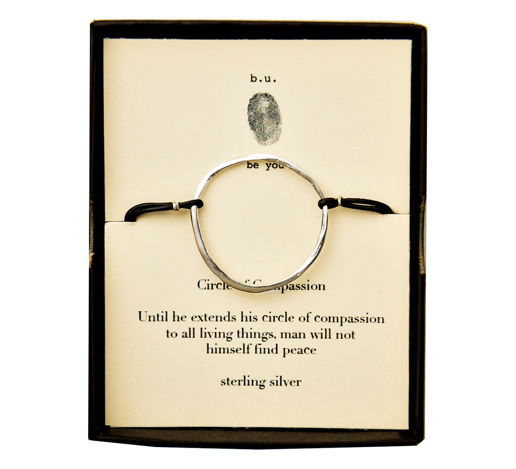 LB32 Leather Bracelet Circle of Compassion - b.u. jewelry