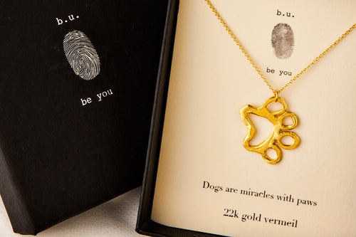 N247V Dog Paw Gold - b.u. jewelry