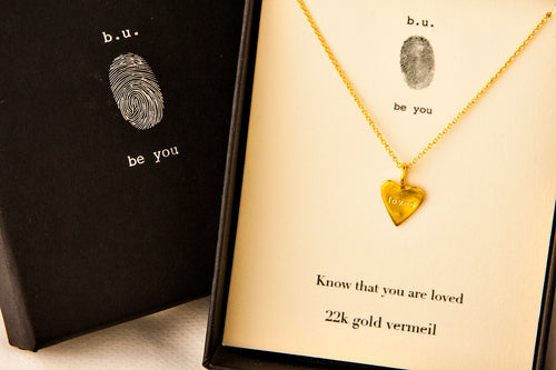 N372V Heart with Loved Gold - b.u. jewelry