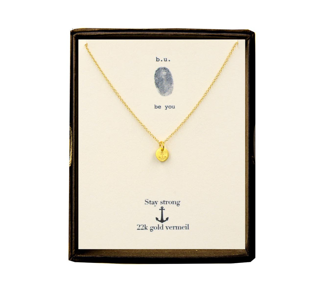 NE012V Tiny Anchor Necklace Gold