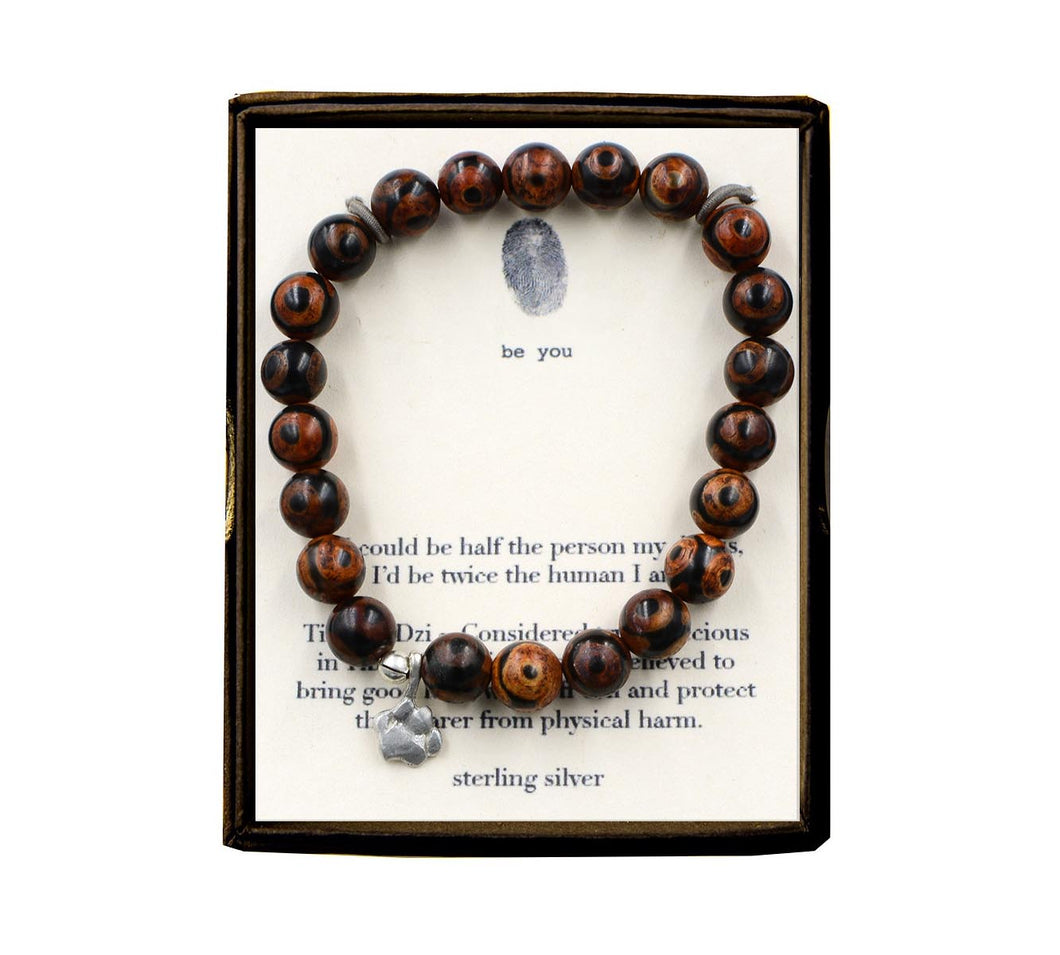 S100N312 If I Coud Be Half the Person Tibetan Dzi Bracelet