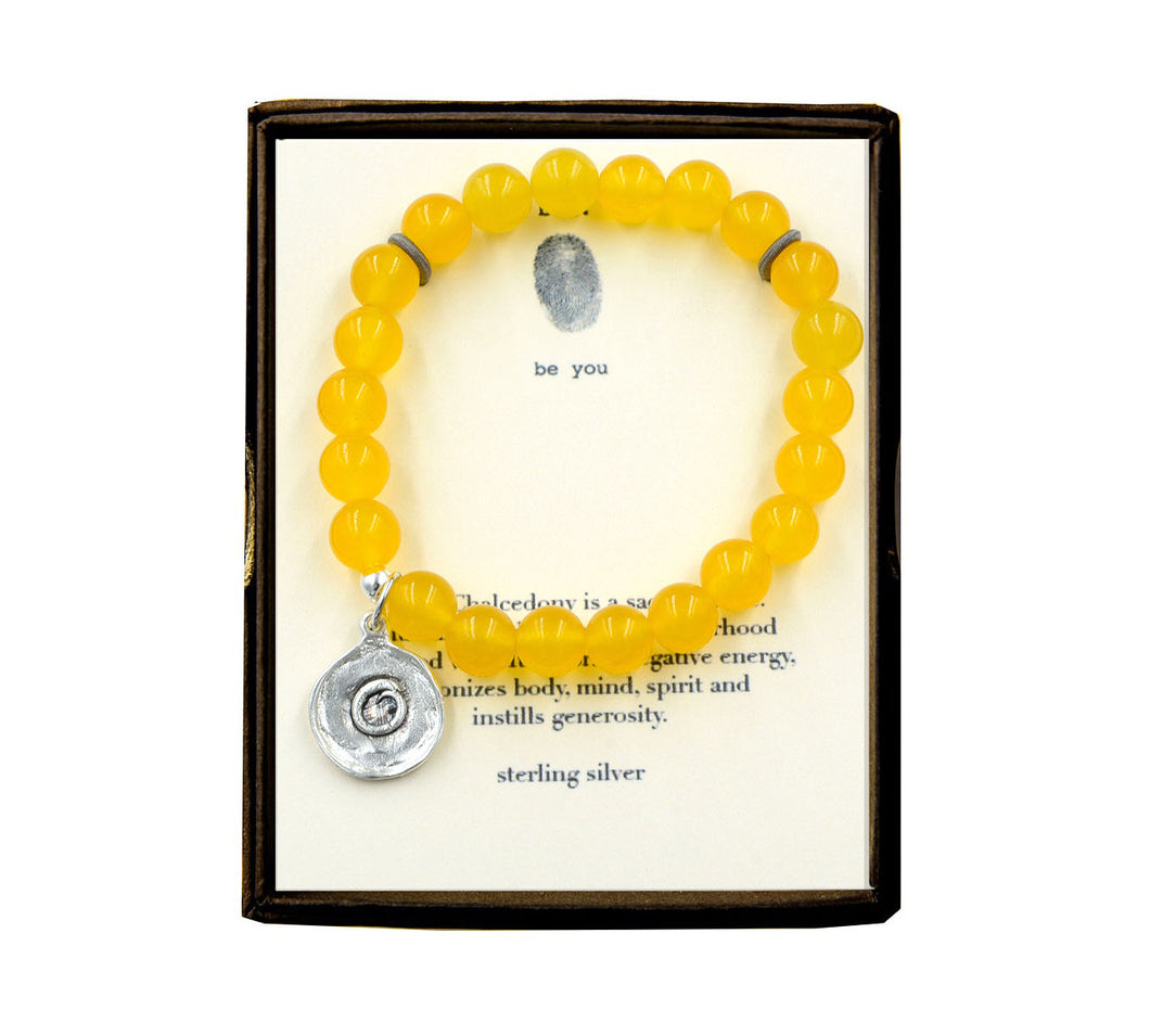 S40E140 Zen Circle Yellow Chalcedony 8mm Beaded Bracelet